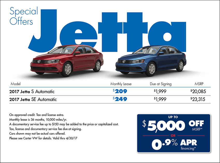 Lease a New 2017 Jetta for less with Special Offers from Carter VW in Seattle