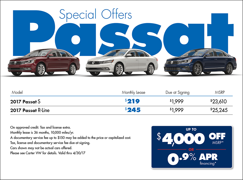 Lease a New 2017 VW Passat in Seattle for less with Carter VW's Lease Specials