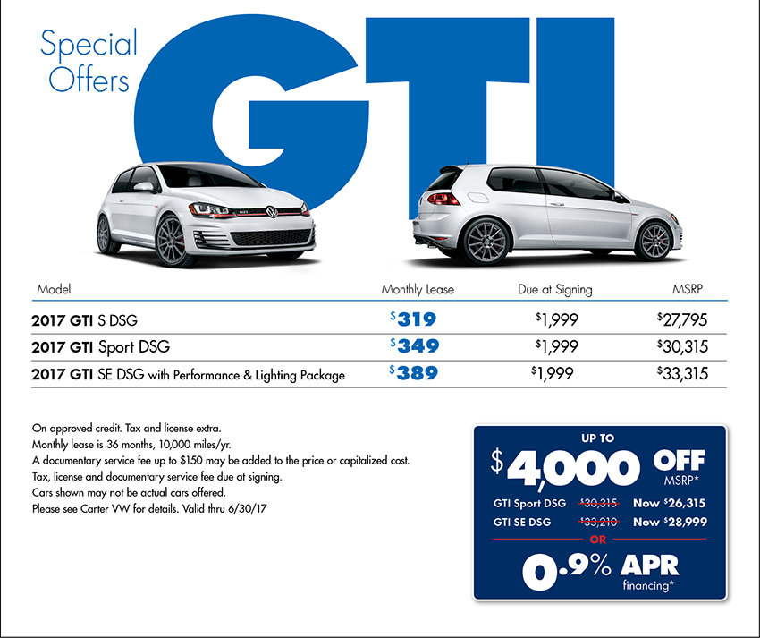View our 2017 Volkswagen Golf GTI Special Savings Offer available in Seattle at Carter VW