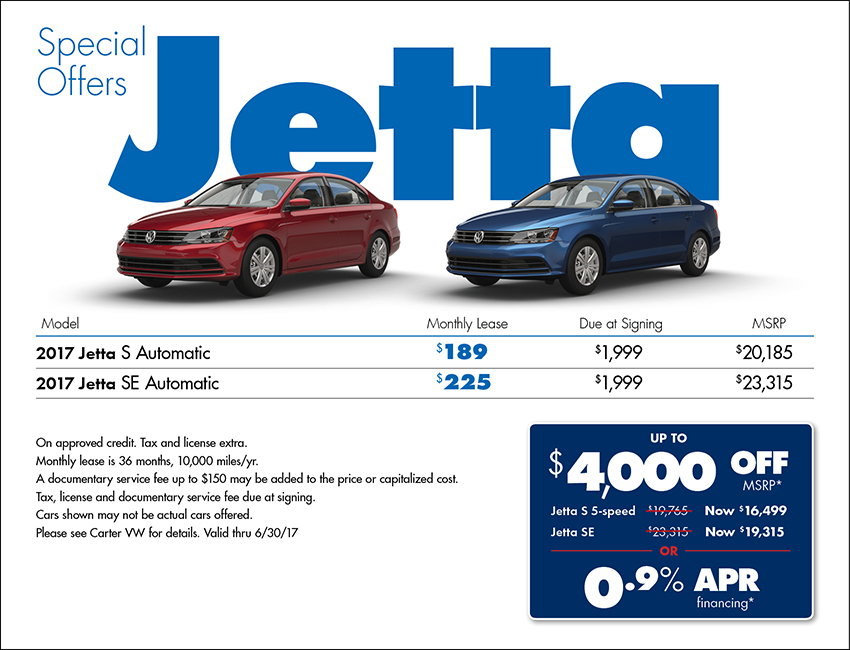 View our 2017 Volkswagen Jetta Special Savings Offer available in Seattle at Carter VW