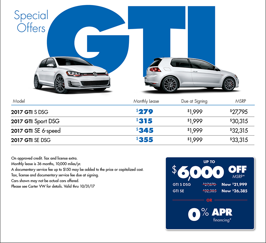 New 2017 Golf GTI Special Offers