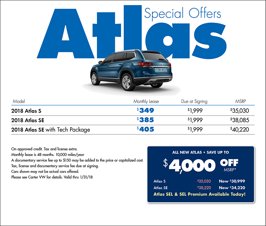 2018 Volkswagen Atlas Sales or Lease Special in Seattle, WA