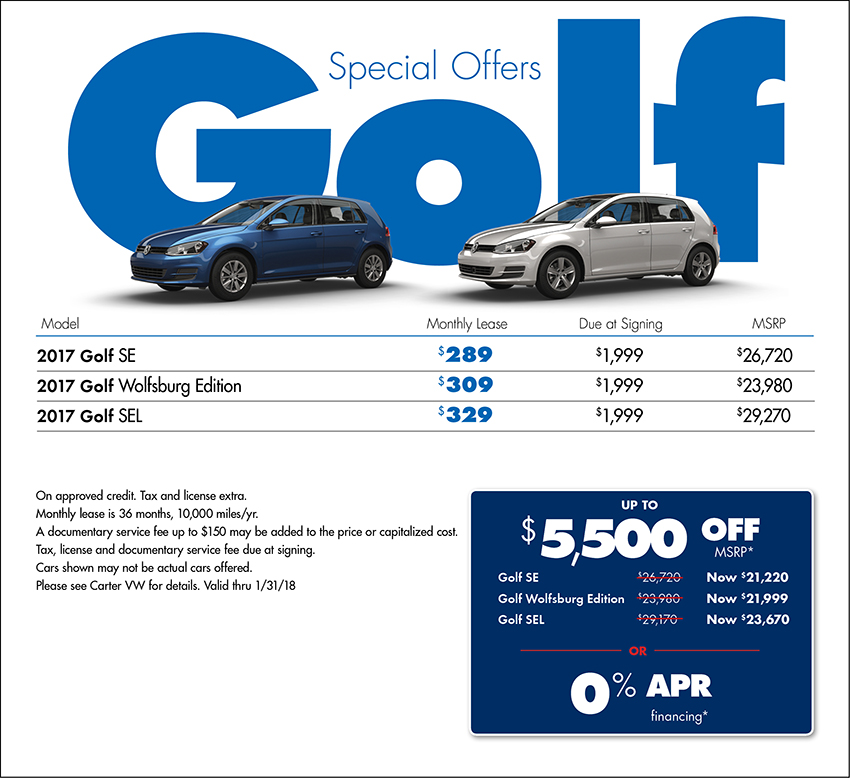 2017 Volkswagen Golf Sales or Lease Special in Seattle, WA