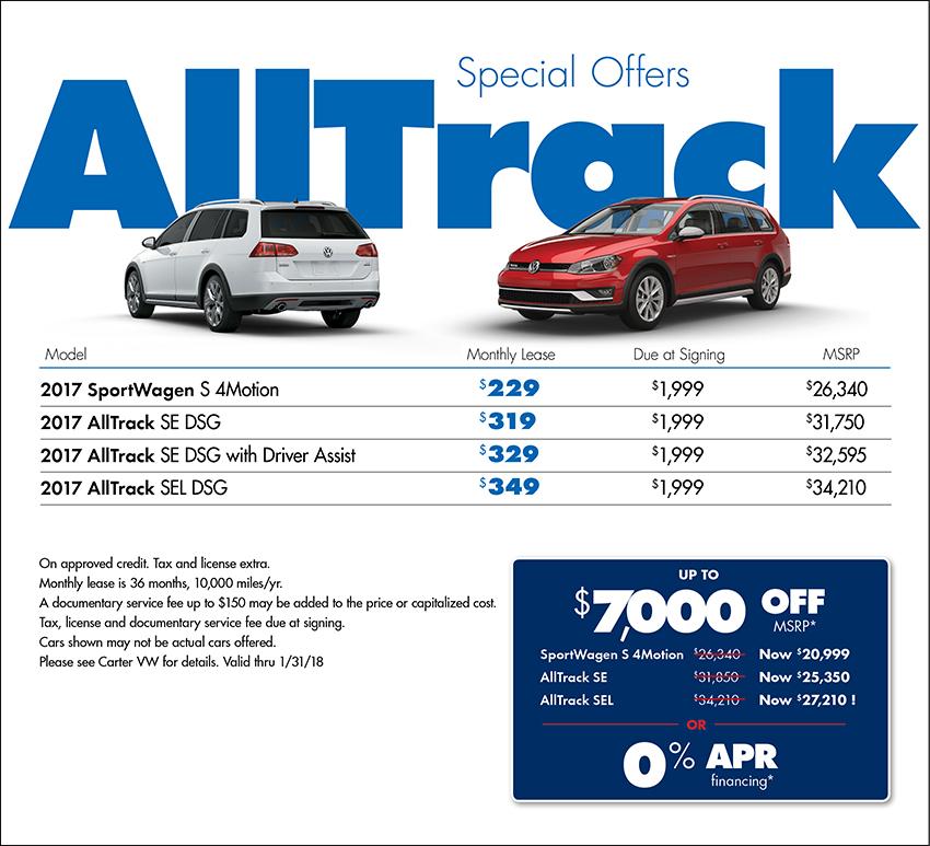 2017 Volkswagen Alltrack Sales or Lease Special in Seattle, WA