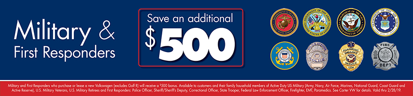 Military & First Responders Additional Savings at Carter Volkswagen In Ballard located in Seattle, WA
