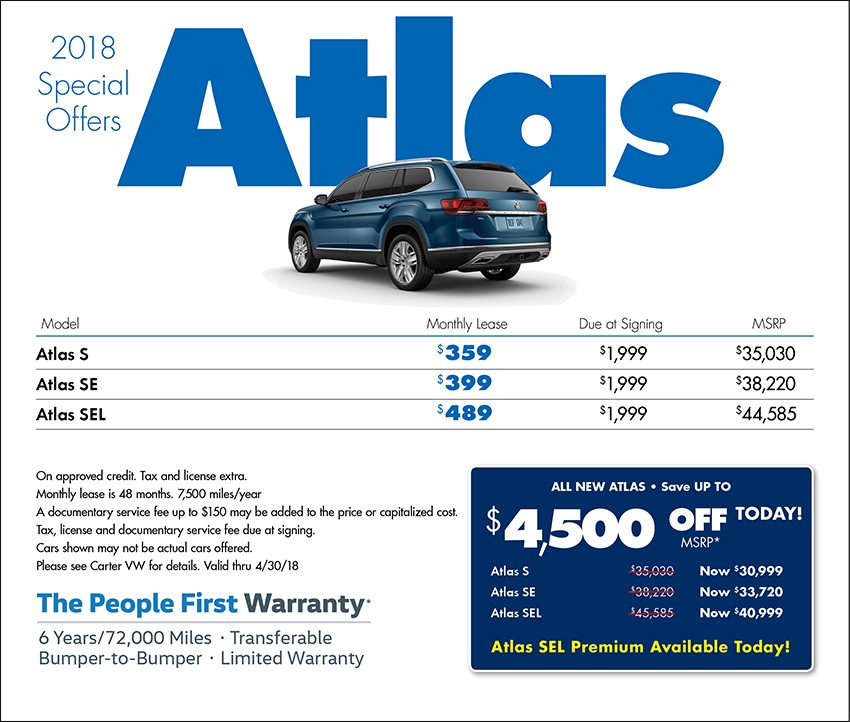 2018 Volkswagen Atlas Sales & Lease Specials in Seattle