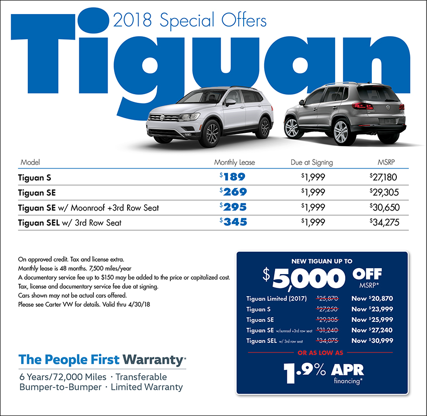 2018 Volkswagen Tiguan Sales & Lease Specials in Seattle