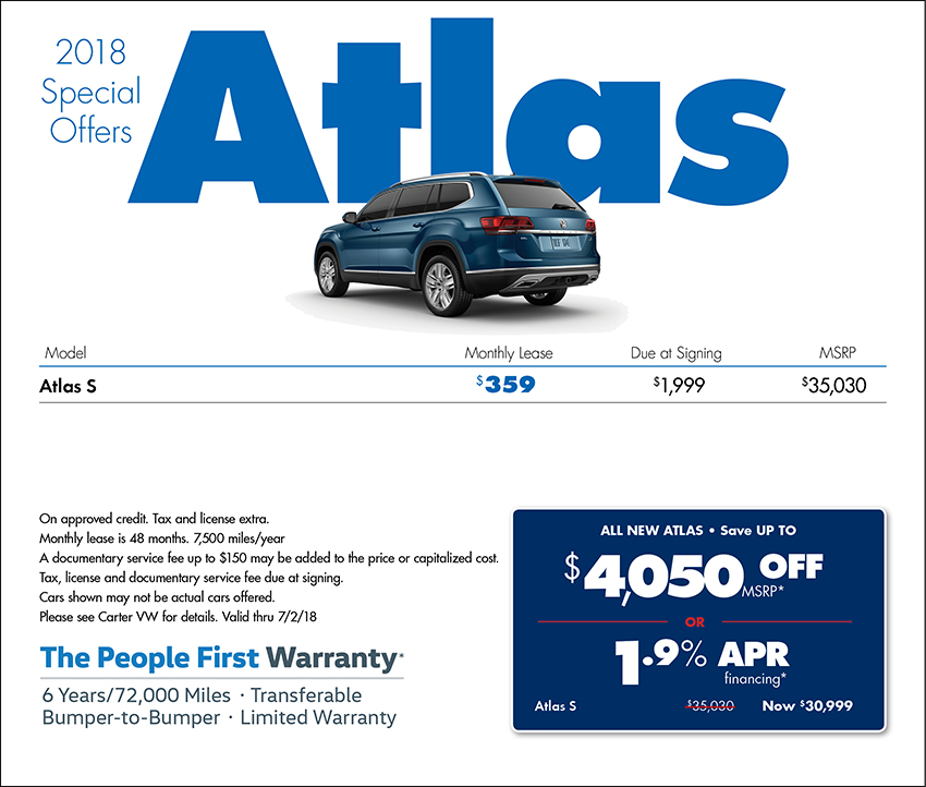 Save on a 2018 Atlas Purchase or Lease at Carter Volkswagen in Ballard located in Seattle, WA