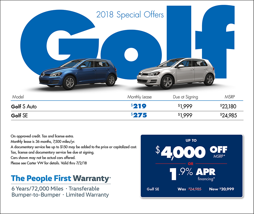 2018 Volkswagen Golf Sales or Lease Specials in Seattle, WA