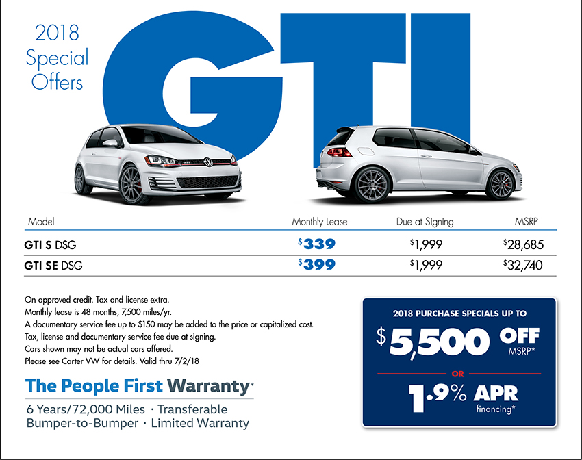 2018 Golf GTI Sales or Lease Special at Carter Volkswagen in Ballard located in Seattle, WA