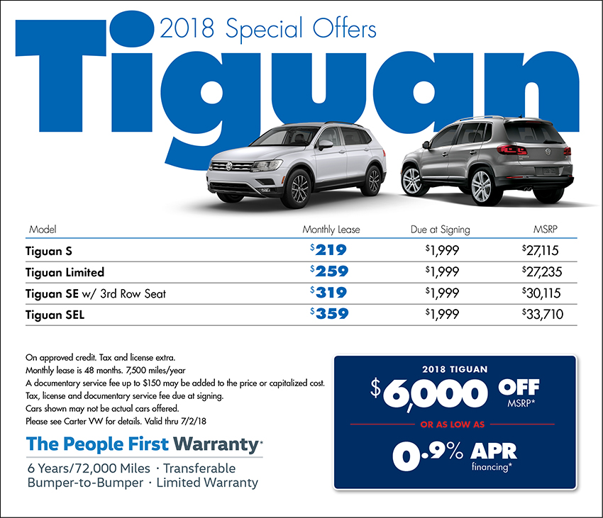 2018 Volkswagen Tiguan Sales or Lease Special in Seattle, WA