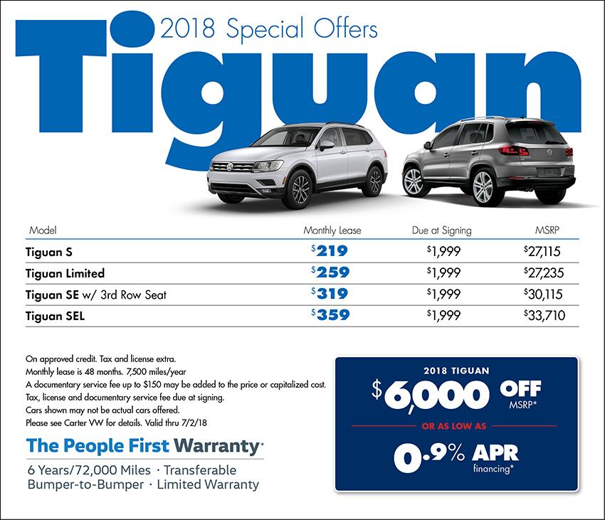 New 2018 Volkswagen Tiguan Sales Amp Lease Specials Seattle Wa