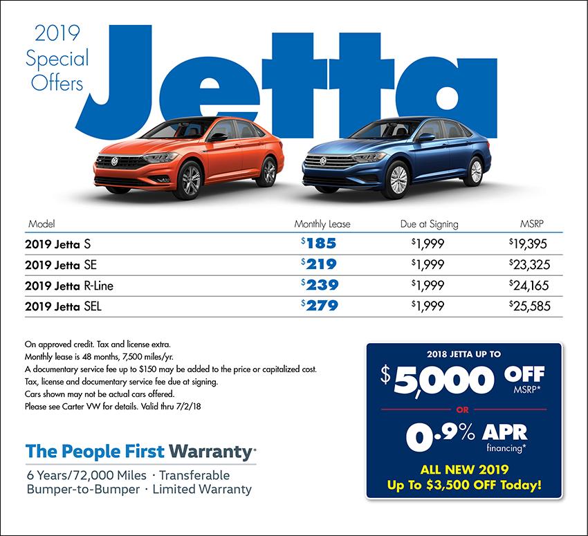 New 2019 Volkswagen Jetta Offers