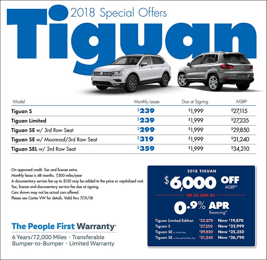 New 2018 Volkswagen Tiguan Sales Amp Lease Specials