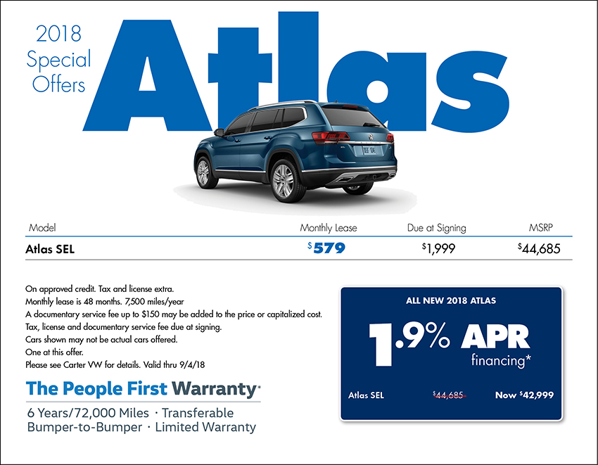 Save on a 2018 Atlas Sale or Lease at Carter Volkswagen In Ballard located in Seattle, WA