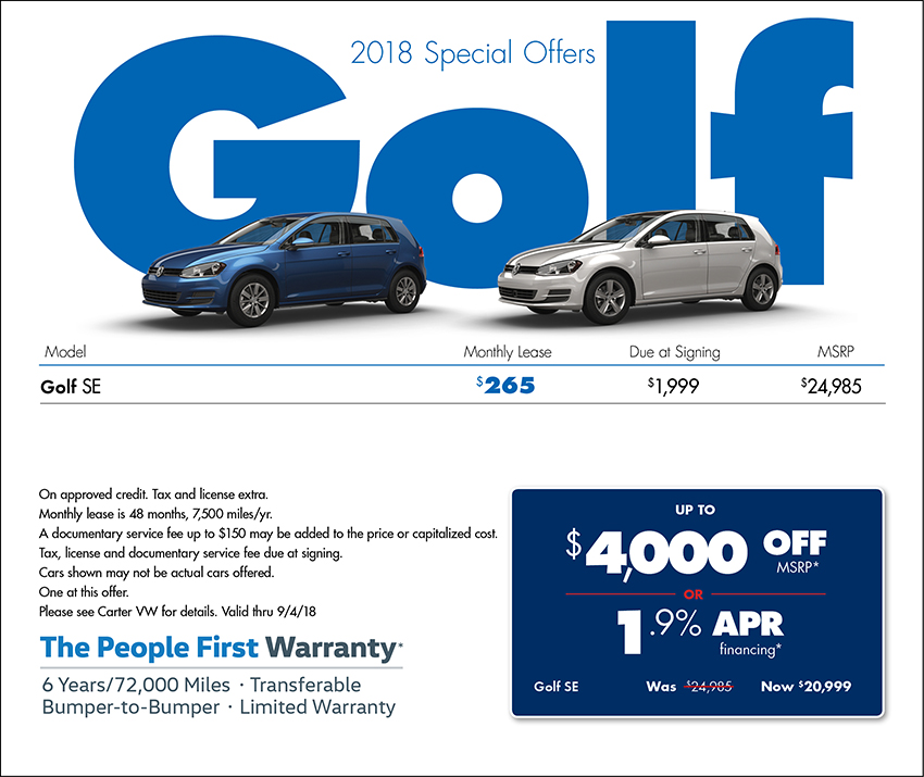 2018 Volkswagen Golf Sales or Lease Specials in Seattle, WA