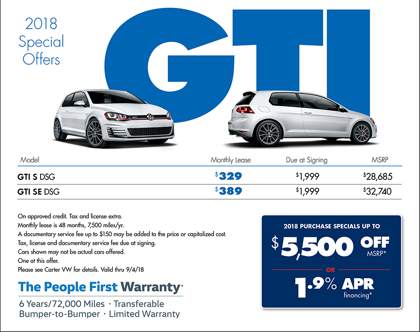 Save on a 2018 Golf GTI Purchase or Lease at Carter Volkswagen In Ballard located in Seattle, WA