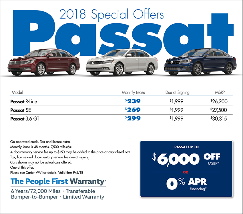 Buy or Lease a 2018 Passat for a Special Price at Carter Volkswagen In Ballard located in Seattle, WA