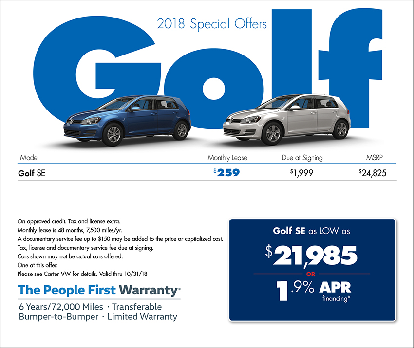 2018 Volkswagen Golf Lease or Finance Special in Seattle, WA