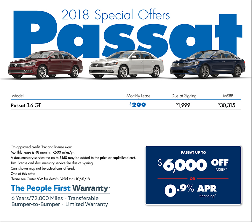 2018 Passat Lease or Purchase Special at Carter Volkswagen In Ballard located in Seattle, WA