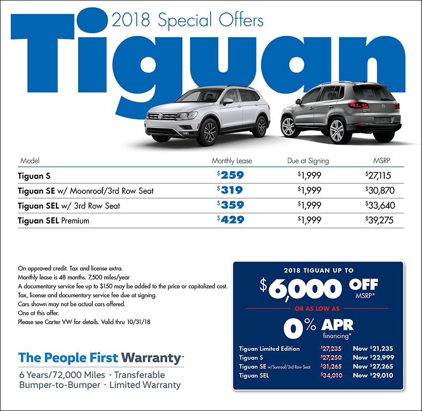 2018 Volkswagen Tiguan Lease or Sales Special in Seattle, WA