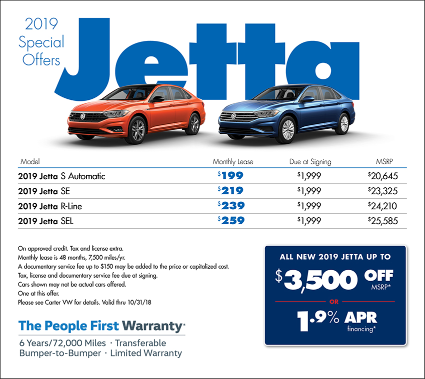 2019 Volkswagen Jetta Lease or Purchase Special in Seattle, WA