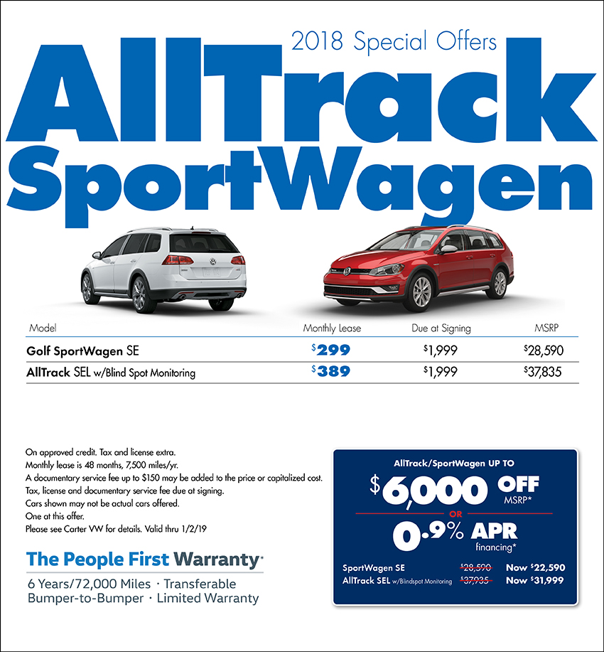 2018 Golf Alltrack Sportwagen Lease or Sales Special at Carter Volkswagen In Ballard