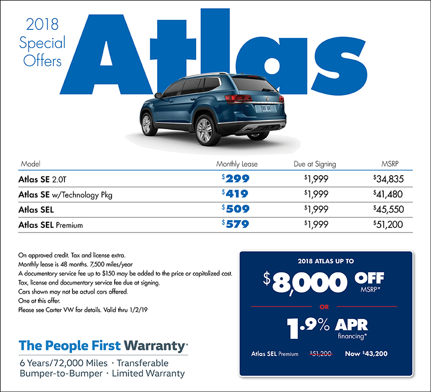 2018 Atlas Low APR or Lease Special at Carter Volkswagen In Ballard located in Seattle, WA