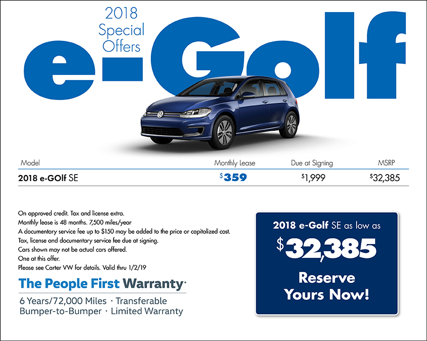 2018 Volkswagen e-Golf Sales Special in Seattle, WA