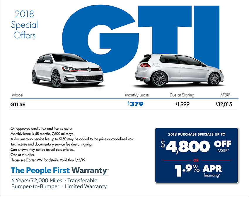 2018 Golf GTI Lease or Sales Special at Carter Volkswagen In Ballard located in Seattle, WA