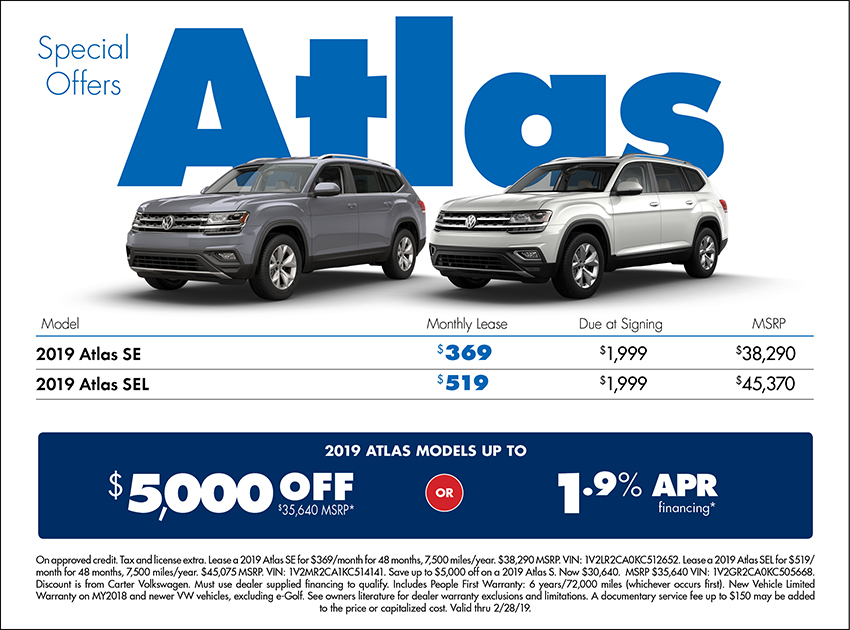 Atlas Low APR or Lease Special at Carter Volkswagen In Ballard located in Seattle, WA
