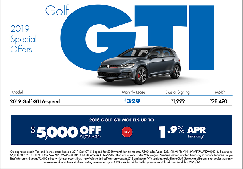 2019 Golf GTI Lease or Sales Special at Carter Volkswagen In Ballard located in Seattle, WA