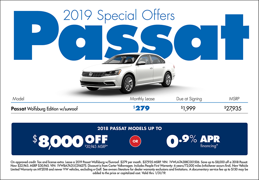 2019 Passat Lease or Purchase Special at Carter Volkswagen In Ballard located in Seattle, WA