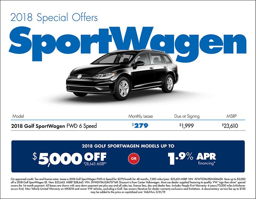 2018 Golf SportsWagen Lease or Purchase Special at Carter Volkswagen In Ballard located in Seattle, WA