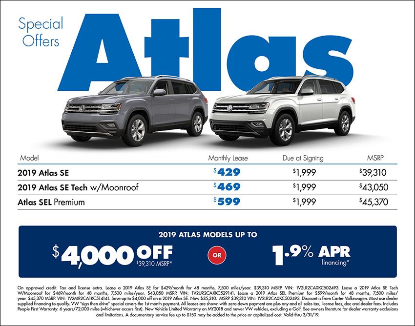 2019 Atlas Lease of Finance Special at Carter Volkswagen In Ballard located in Seattle, WA