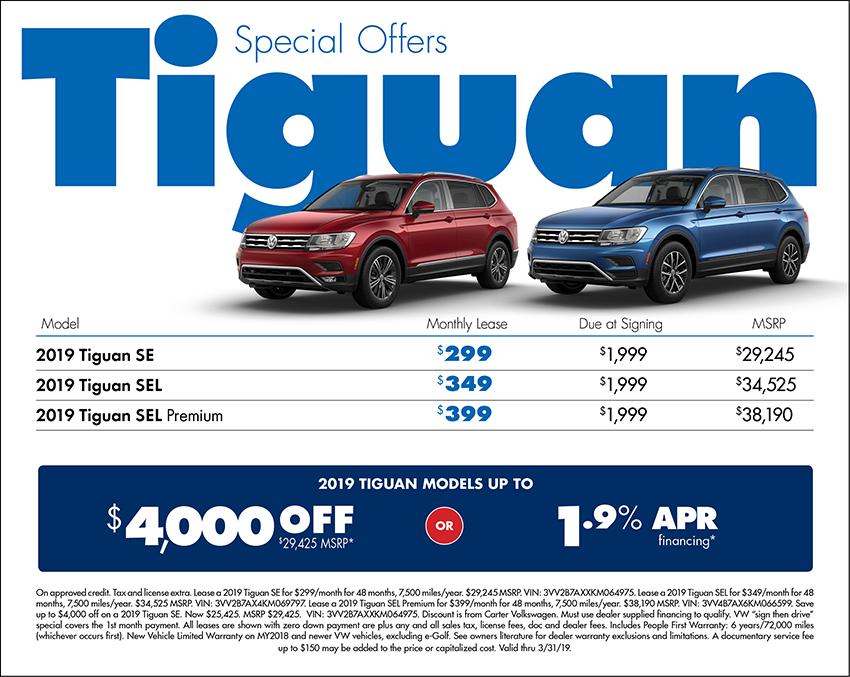 2019 Tiguan Lease or Low APR Finance Special at Carter Volkswagen In Ballard located in Seattle, WA