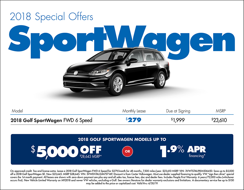 2018 Golf SportsWagen Lease or Purchase Special at Carter Volkswagen In Ballard located in Seattle, WA
