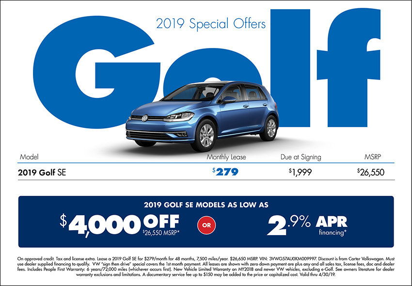 2019 Golf Purchase or Lease Special at Carter Volkswagen In Ballard located in Seattle, WA