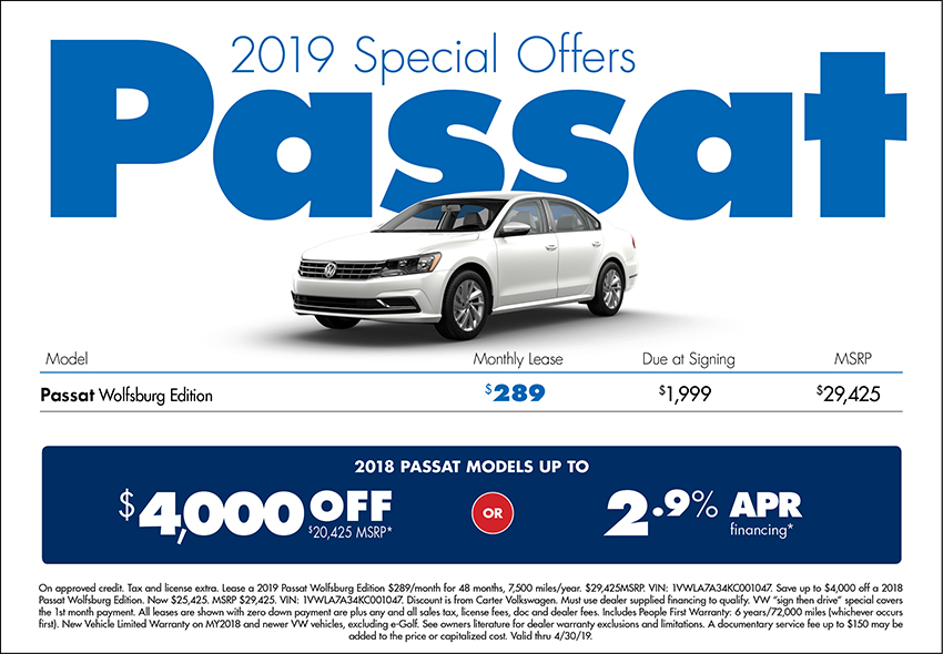 2019 Passat Lease or Low APR Purchase Special at Carter Volkswagen In Ballard located in Seattle, WA