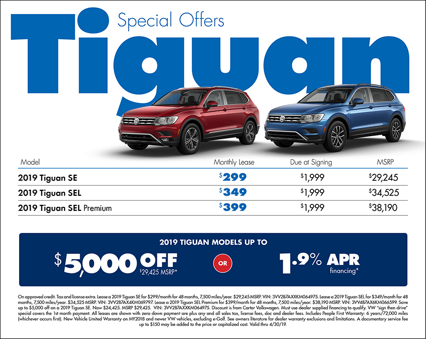 2019 Tiguan Lease or Low APR Finance Special at Carter Volkswagen In Ballard located in Seattle, WA