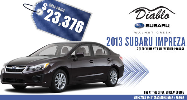 Concord New 2013 Subaru Impreza Premium Discount Sales Special serving Walnut Creek, California