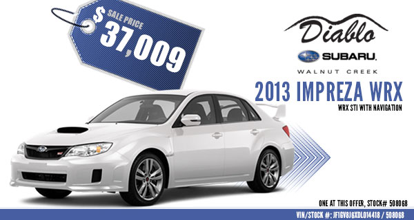 New 2013 Subaru Impreza WRX STi Discount Sales Special serving Walnut Creek, California
