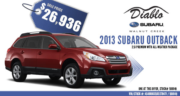 Walnut Creek New 2013 Subaru Outback 2.5i Premium Sales Special Offer serving Concord, California