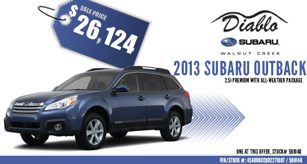 California New 2013 Sbuaru Outback 2.5i Premium Special Discount Offer serving Walnut Creek, California