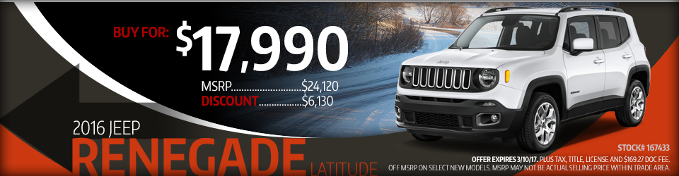 2016 Jeep Renegade Latitude Purchase Special in Glendale Heights, IL