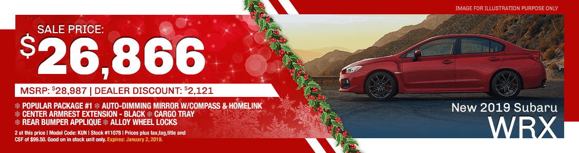 Save On A New 2019 Subaru WRX with Special Discount Savings in Harriman, TN