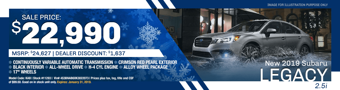 Purchase a 2019 Subaru Legacy 2.5i for a Special Price in Harriman, TN
