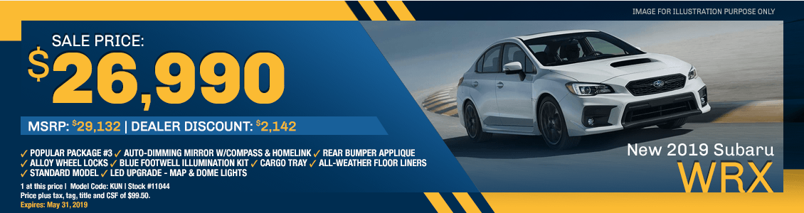 Save on a new 2019 WRX at Earl Duff Subaru in Harriman, TN