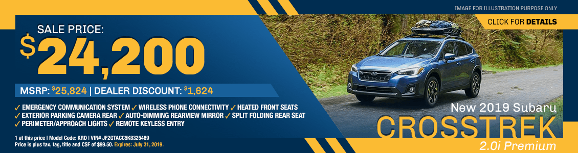 Save On A New 2019 Subaru Crosstrek 2.0i Premium with Special Discount Savings in Harriman, TN