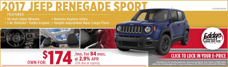 Save on a new 2017 Jeep Renegade Sport model at Eddy's CDJR in Wichita, KS